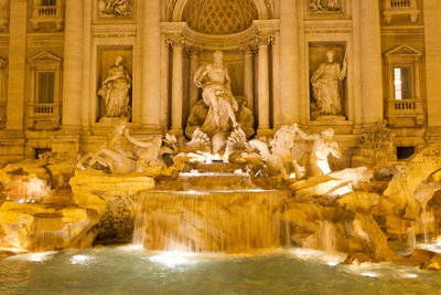 The Trevi Fountain Illuminated at Night Photographic Print by Mike Theiss