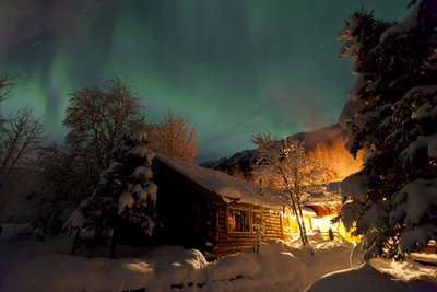 Aurora Borealis (Northern Lights) over the Eagle River Nature Center and Chugach Mountains Photographic Print by  Design Pics Inc