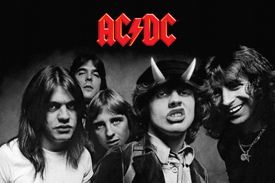 AC/DC Highway to Hell photo cover art poster black and white collage best rock bands, founders of heavy metal bands