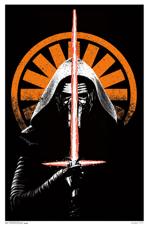 Kylo Ren orange and black Star Wars 7 VII The Force Awakens blacklight poster
