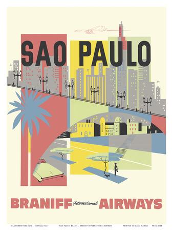 Sao Paulo, Brazil - Braniff International Airways Posters