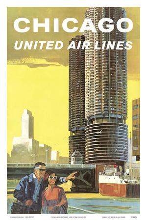 Chicago, USA - Marina City, Chicago River - United Air Lines Affischer av Tom Hoyne