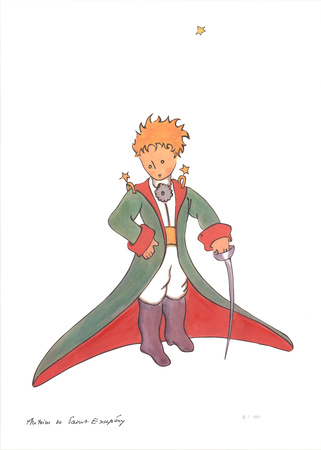 Petit Prince et la cape rouge Serigraph by Antoine de Saint Exupery