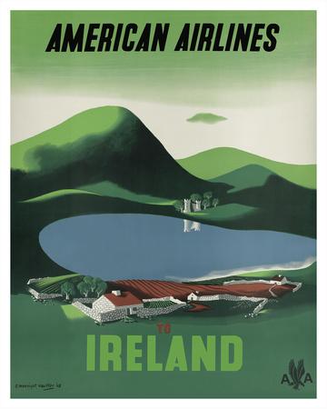 Ireland - Ross Castle, Killarney National Park - American Airlines Giclee Print by Edward Mcknight-Kauffer