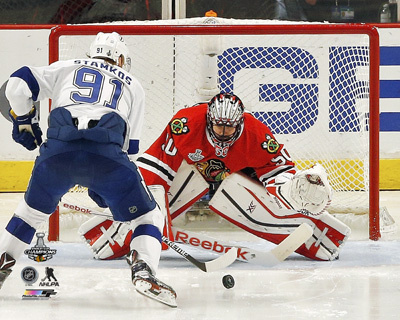 Corey Crawford in Net Game 6 of the 2015 Stanley Cup Finals Photo