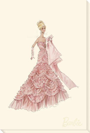 Pink Evening Gown Barbie™ Fashion Stretched Canvas Print by  Best