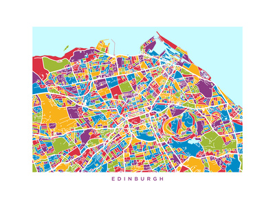 Edinburgh Street Map Photographic Print by Michael Tompsett