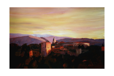 Alhambra Granada Spain with snow covered Mountains Print by Markus Bleichner