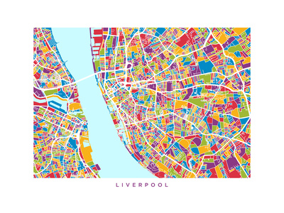 Liverpool England City Street Map Poster by Michael Tompsett