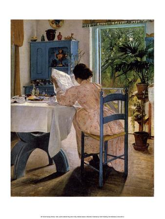 Reading Woman at Breakfast, 1898 Affischer av Laurits Andersen Ring