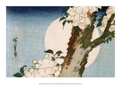 Flowering Cherry Tree and Full Moon Prints by Utagawa Hiroshige