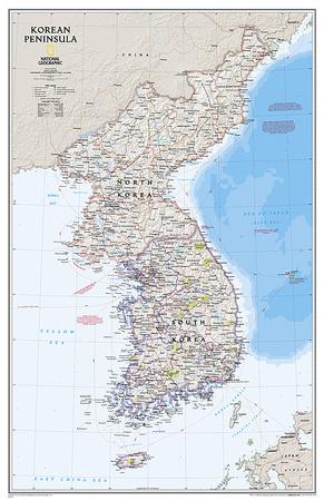 National Geographic Korean Peninsula Map Prints