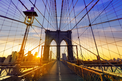 Brooklyn Bridge Sunset New York Manhattan Skyline NY NYC USA Photographic Print by  holbox