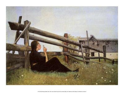Girl Blowing Dandelion Seeds, 1899 Affischer av Laurits Andersen Ring
