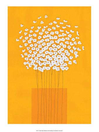 Nine Stemmed Flowers in Orange Vase Prints by Takashi Sakai