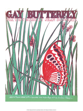 Vintage Music Sheet, Gay Butterfly Poster