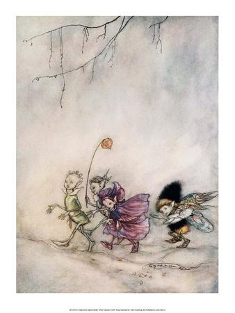 Peaseblossom, Cobweb, Mote & Mustardseed Posters by Arthur Rackham