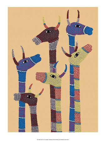 India Folk Art, Giraffes Posters