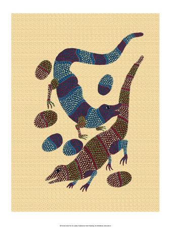 India Folk Art, Lizards Prints