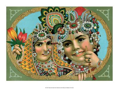 Vintage Indian Bazaar, Lord Krishna with Radha Posters