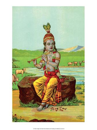Vintage Indian Bazaar, Lord Krishna Print