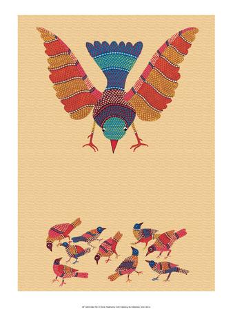 India Folk Art, Birds Prints