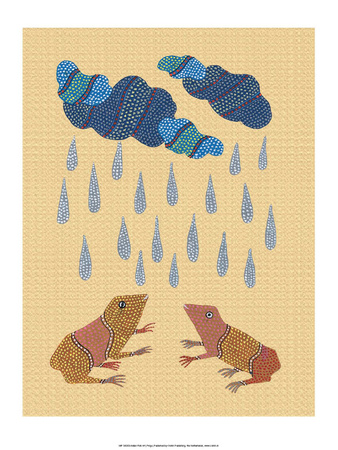 India Folk Art, Frogs in the Rain Posters