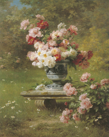Peonies in a Wild Garden Giclee Print by Louis Marie Lemaire