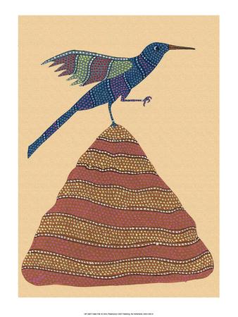 India Folk Art, Bird on Top of the Hill Poster