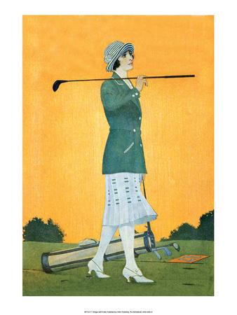 Vintage Golf Poster, Woman Golfer Art