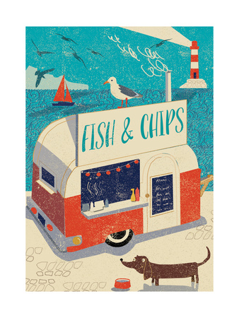 Fish and Chips Giclee Print by  Rocket 68