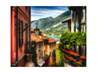 Charming Street Scene in Bellagio II Photographic Print by George Oze