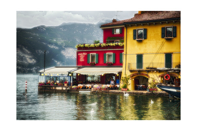 Malcesine Harbor Dining, Italy Photographic Print by George Oze
