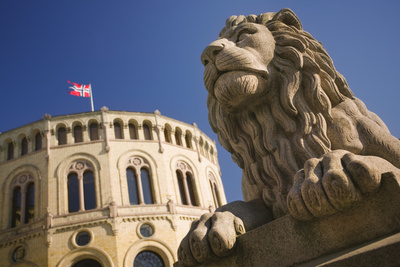 Lion Statue and Stortinget in Oslo Photographic Print by Jon Hicks