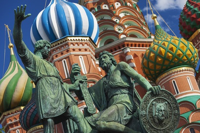 The Monument to Minin and Pozharsky in Front of St Basil's Cathedral in Red Square. Photographic Print by Jon Hicks