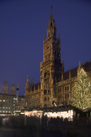 Christmas Tree in Marienplatz in Munich Photographic Print by Jon Hicks