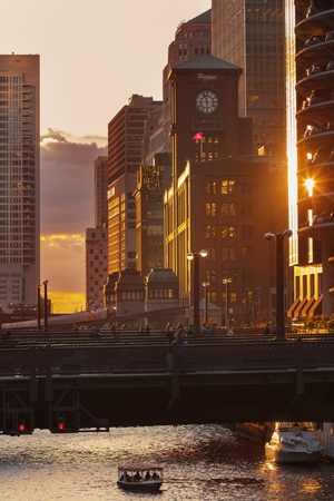 The Chicago River at Sunset. Photographic Print by Jon Hicks