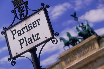 Sign at Pariser Platz and Brandenburg Gate Photographic Print by Jon Hicks