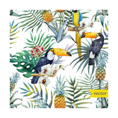 Watercolor, Tropical, Pineapple, Exotic, Pattern Art by  Zenina