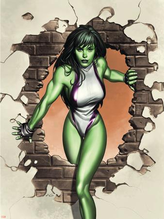 She-Hulk No.1 Cover: She-Hulk Plastic Sign by Adi Granov