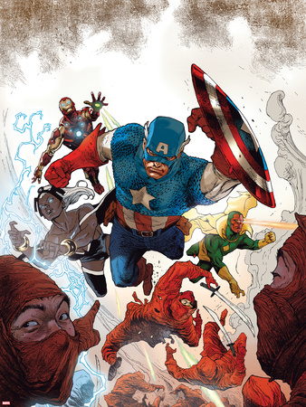 Avengers No.23 Cover: Captain America, Storm, Vision, and Iron Man Wall Decal by Renato Guedes