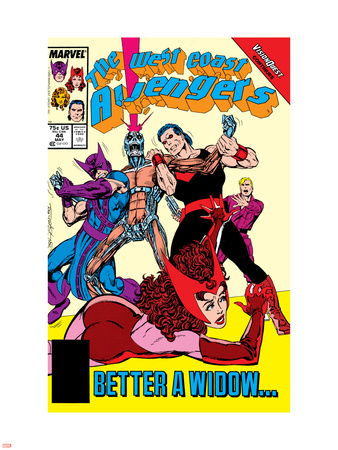 Avengers West Coast No.44 Cover: Scarlet Witch, Wonder Man, Hawkeye and Vision Wall Decal by John Byrne