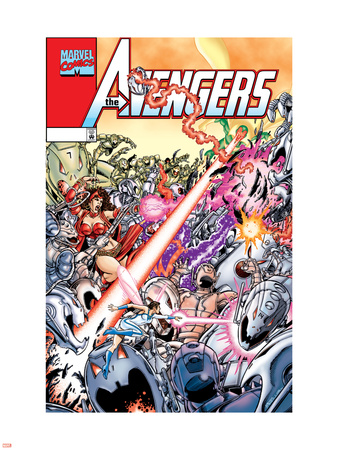 Avengers No.20 Cover: Ultron, Scarlet Witch, Wonder Man, Vision, Wasp and Avengers Wall Decal by George Perez