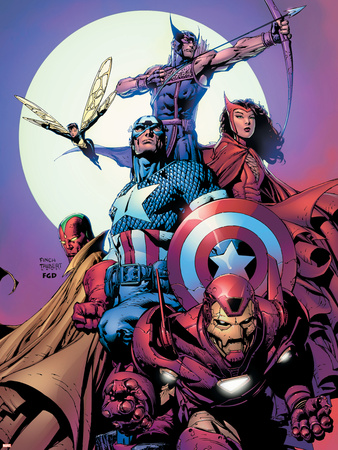 Avengers No.80 Cover: Iron Man, Captain America, Vision, Scarlet Witch, Hawkeye, Wasp and Avengers Wall Decal by David Finch