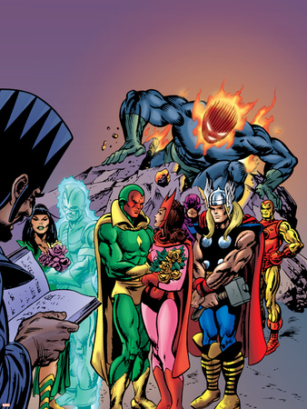 Avengers: Vision And The Scarlet Cover: Vision, Scarlet Witch, Thor, Iron Man and Dormammu Wall Decal by Gil Kane
