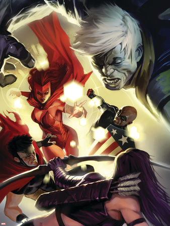 The Mighty Avengers No.28 Cover: Scarlet Witch, Wiccan and Patriot Wall Decal