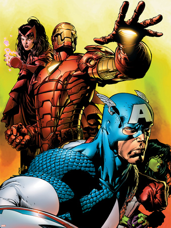 Avengers No.501 Cover: Captain America, Iron Man, Scarlet Witch, She-Hulk and Avengers Wall Decal by David Finch