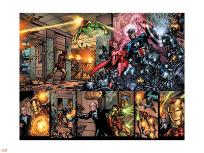 Giant-Size Avengers No.1 Group: Captain America, Scarlet Witch and Vision Wall Decal by Nelson Decastro