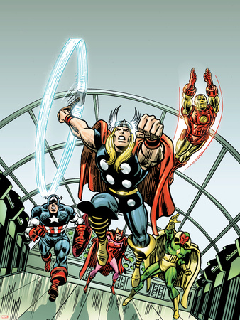 Giant-Size Marvel TPB Cover: Thor, Captain America, Iron Man, Vision and Scarlet Witch Charging Wall Decal by Rich Buckler
