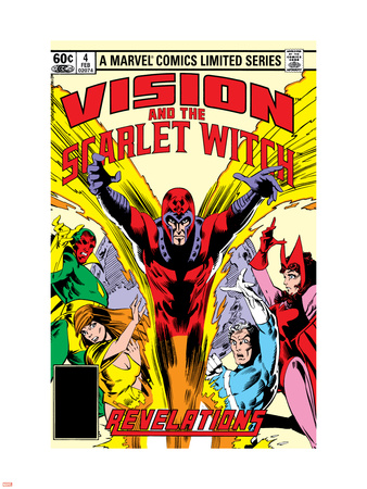 Vision And The Scarlet Witch No.4 Cover: Magneto, Vision, Scarlet Witch, Quicksilver and Crystal Wall Decal by Rick Leonardi